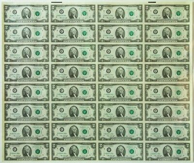 UNCUT SHEET of  $2 Dollar Notes Real  US Currency