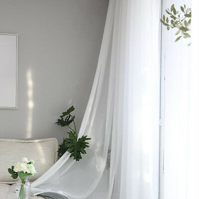 Blackout Window Curtain White Sheer Drape Panel - Chiffon Cloth- Rod Design