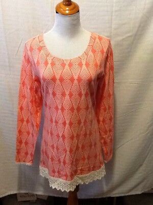 Handmade Womens Size Medium Tunic Orange White Long Sleeve Lace A46A