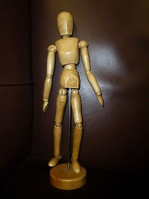 Vintage hand waxed Traditional Wooden wood Artist Mannequin model pose-able med