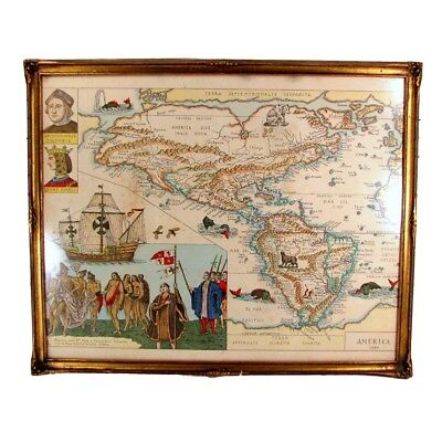 Antique Fantasy Map America 1586 Christopher Columbus Natives Fish Gold Frame