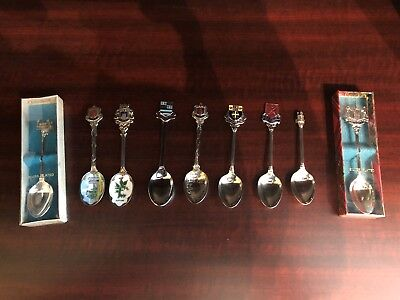 Collection of 9 British Souvenir Spoons from circa 1970s
