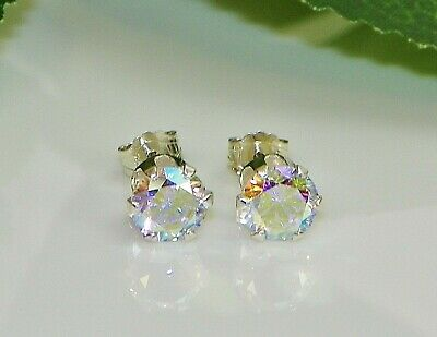 Mercury Mystic Topaz Round Diamond Cut Sterling Silver Stud Earrings