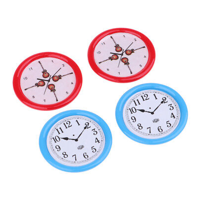 4pcs Dollhouse Miniature Wall Clock 33mm 1/12 Scale Play Doll House Toy