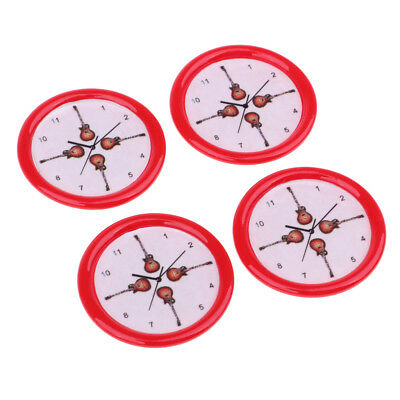 4pcs Dollhouse Miniature Wall Clock 33mm 1/12 Scale Play Doll House Toy Red