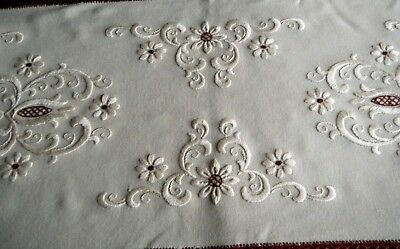19c Old vtg top Runner nouveau style w H embroidery  on blended linen canvas