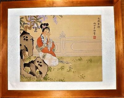 Delightful Oriental Silk Painting With Lady Sitting In Gardens Contemplating