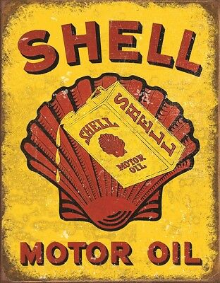 """Tin Sign  """"SHELL  MOTOR OIL"""" AUTOMOBILE Garage  Metal Sign MADE IN USA"""