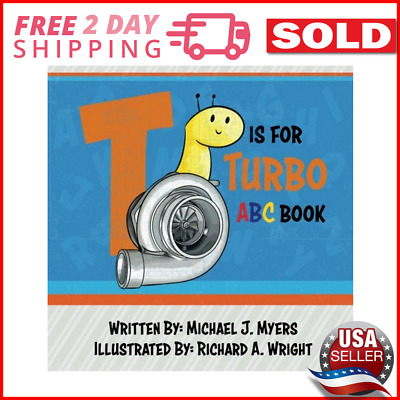 T is for Turbo ABC Book Motorhead Garage Series Free 2 Days Shipping