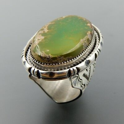 Handcrafted Sterling Silver Oval Green Royston Turquoise Wide Ring Size 8.75