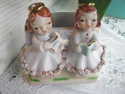 VINTAGE HEAVY PLANTER VASE 2 SINGING ANGELS SPAGHETTI TRIM DRESSES MADE in JAPAN
