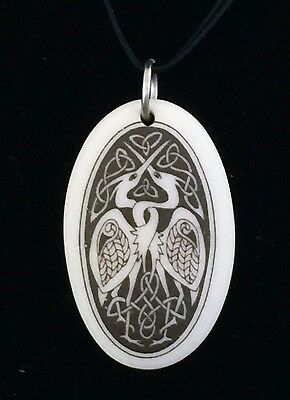 Celtic Heron Bird Pendant - Handcrafted Porcelain Oval Birds of Prophecy Amulet