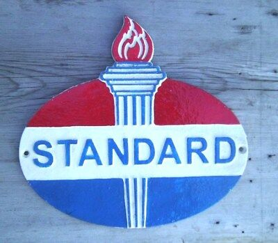 """Standard Oil Gasoline Dealer's Sign Plaque 10"""" Cast Iron With Torch"""