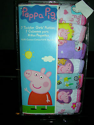 "Adorable  ""PEPPA PIG""  GIRLS  7 pr.. PKG. PANTIES  SIZE 2T-3T  NWT"