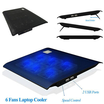"""Pro Home 6 Fans Laptop Cooler Notebook Cooling Pad Stand Blue LED F/ 11.6"""" 15.6"""""""