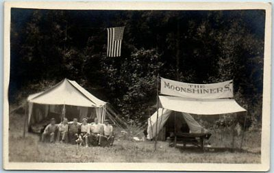 """Vintage RPPC Real Photo Postcard """"THE MOONSHINERS"""" Men & Dog at Tent c1930s"""