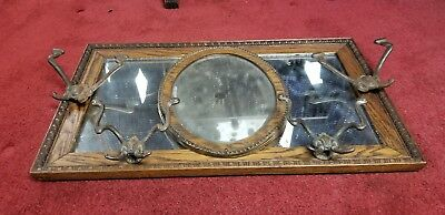 c1900 Antique Oak Wood Wall Mirror w/ Hooks