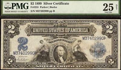 1899 $2 TWO DOLLAR BILL LARGE SILVER CERTIFICATE NOTE OLD PAPER MONEY Fr 255 PMG