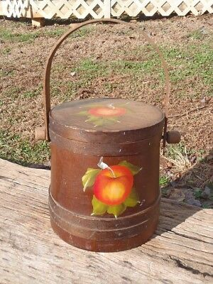 """Vintage Large Banded Stave Wood 8.5"""" FIRKIN BUCKET PAIL with LID Swing Handle NR"""