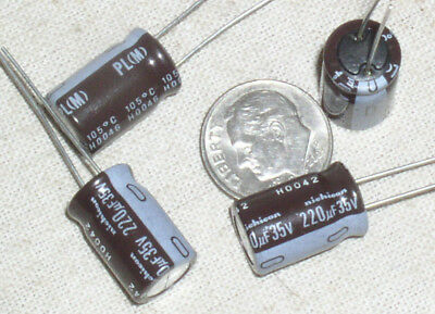 Lot of 5 Nichicon Electrolytic Capacitor 220uF 35V 105C  PL Series 8x20mm