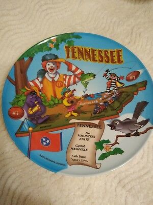 2002 McDonalds Collector Tennessee State Melamine Plastic Plate Collectible