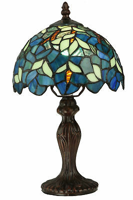 """Meyda Tiffany 124812 Nightfall Wisteria 14"""" Tall Table Lamp with Stained Glass"""