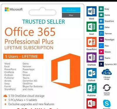 INSTANT Microsoft Office 365 For Windows Mac - 5 Devices Lifetime-Email Delivery