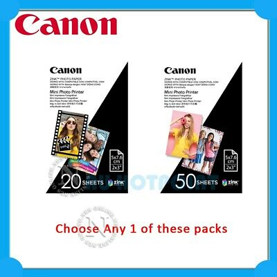 "Canon Zink Mini Photo Printer Paper 2""x3"" 20/50 Sheets Pack"