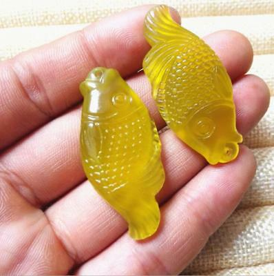 1 PCS Natural jade carving fish Amulet yellow agate 年年有鱼 jade pendant statue
