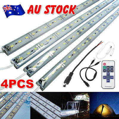 4X12V Waterproof Cool White 5630 Led Strip Lights Bars Camping Boat Car + Remote