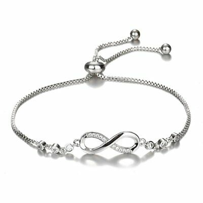 Infinity 925 Silver Friendship Bridesmaid Bracelet Cubic Zircon Crystal Womens