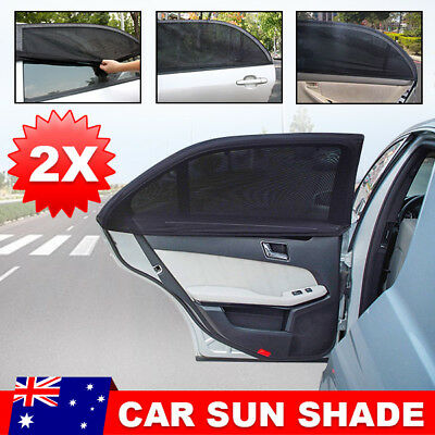 2x Universal Sun Shades Socks Car Window Sox Baby Kids UV Protection Black