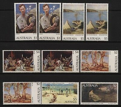 Australia 1974 / 1981 Collection 10 Australian Paintings Stamps Unmounted Mint