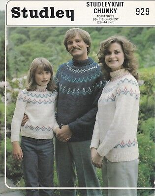 1db3d4d92a Studley Knitting Pattern Ladies Girls Mans Fair Isle Yoke Sweater Chunky  26-44