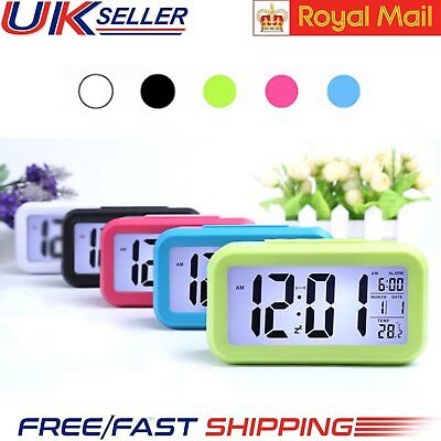 Digital LCD Snooze Electronic Alarm Clock Modern White Backlight Light Control