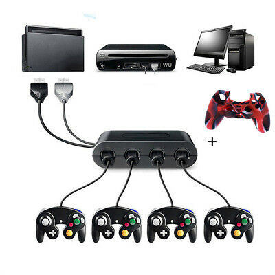 4 Port USB Gamecube NGC Controller Adapter For Nintendo Switch/Wii U /PC +Cover