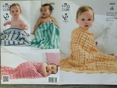 King Cole Knitting Pattern: Four Baby Blankets, DK, 3422