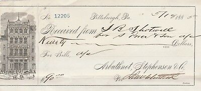 1885 Pittsburgh, Pennsylvania  Receipt   Vignette