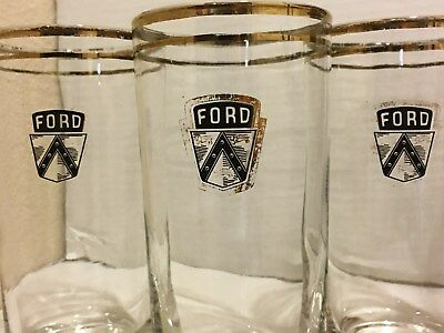 3 Ford Drinking Glasses From the 40`s - 50`s, 2 Gold Stripes around Top