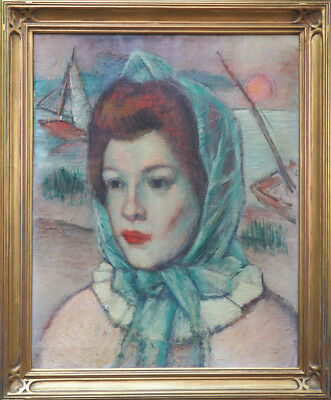 Artist's wife portrait vintage oil painting by Simka Simkhovitch Russian