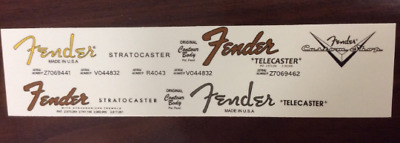 4 Fender Waterslide Decals: 2 Stratocaster, 2 Telecaster & 1 Custom shop!