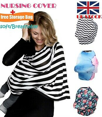 New All-in-1 Baby Breastfeeding Nursing Cover W/Drawstring Bag SOFT&BREATHABLE