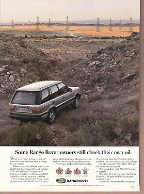 "1996 Range Rover Ad ""Some owners check own oil..."" Print Ad"