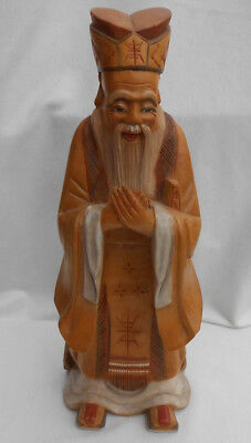"Wood Carved statue Chinese star god 12"" man figurine vintage"