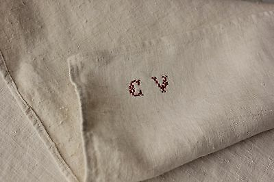 Antique French PURE linen soft monogram hand / kitchen towel 19th CV