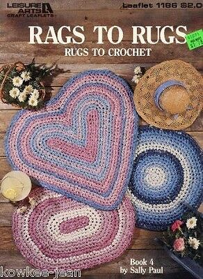 Rags to Rugs: fabric rag rug PATTERNS to crochet heart shape oval round country