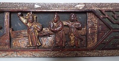 Antique Hand Carved Chinese Gilt Lacquer White Metal Wooden Panel Plaque Treen