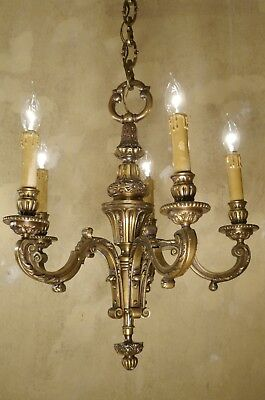 5 Light Antique Small Spanish Bronze Chandelier Vintage Lamp Old Ceiling Lamp