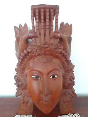 Vintage Hand Carved Wood Chinese Female Wall Mask Glass Eyes Very Detailed