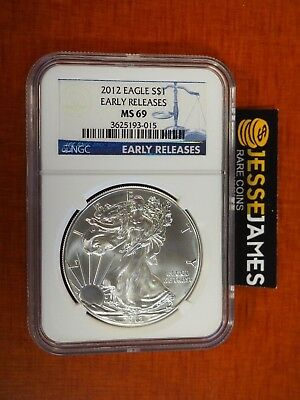 2012 $1 American Silver Eagle Ngc Ms69 Early Releases Blue Label